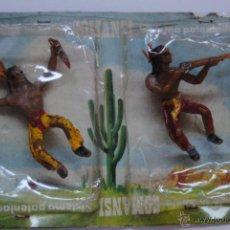 Figuras de Goma y PVC: PAREJA DE INDOS COMANSI EN SU BLISTER FIGURAMA ORIGINAL. Lote 45893978