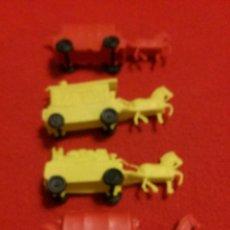 Figuras de Goma y PVC: 4 CARROZAS DEL OESTE MONTAPLEX. Lote 46122355