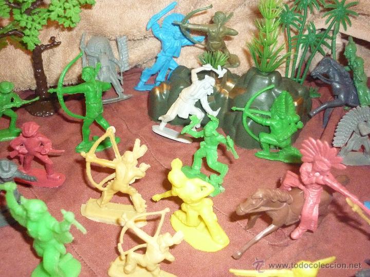 Figuras de Goma y PVC: LOTE 42 FIGURAS DE INDIOS Y VAQUEROS AMERICANOS,ALGUNOS CON CABALLO-MONOCROMÁTICOS-REBAJADOS!! - Foto 8 - 46294814