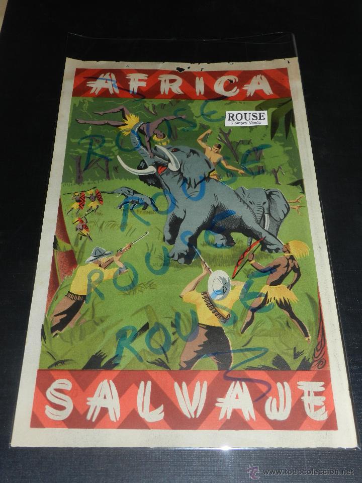 (M) ANTIGUO CARTEL ARCLA PUBLICITARIO AFRICA SALVAJE !! TARZAN , NEGROS CAZADORES. VER REVERSO (Juguetes - Figuras de Goma y Pvc - Arcla)