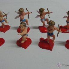 Figuras de Goma y PVC: 8 CUPIDOS DE PLÁSTICO PARA PASTELERIA. Lote 78190083