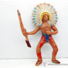 Figuras de Goma y PVC: 46. JECSAN JEFE INDIO CON RIFLE APACHE FIGURA FIGURE FAR WEST USA ALFREEDOM OESTE AMERICANO. Lote 47969963