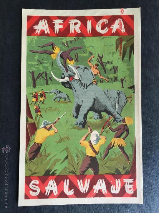 CARTEL DOBLE DE PUBLICIDAD ARCLA - AFRICA SALVAJE AÑOS 50 - CON TEXTO POR DETRAS - PERFECTO (Juguetes - Figuras de Goma y Pvc - Arcla)