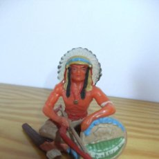 Figuras de Goma y PVC: ELASTOLIN SERIE 7 CMTS INDIO SENTADO CON ARCO. Lote 155997608