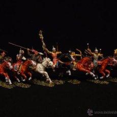 Figurines en Caoutchouc et PVC: ELASTOLIN / DIEDHOFF HUNOS A CABALLO SERIE COMPLETA 7 CMTS. Lote 48400454