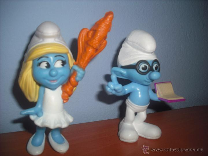 Figuras de Goma y PVC: Pitufina y Pitufo Sabio en PVC - SMURF - MCDONALDS - EN PERFECTO ESTADO - SMURFS - Foto 2 - 48692499