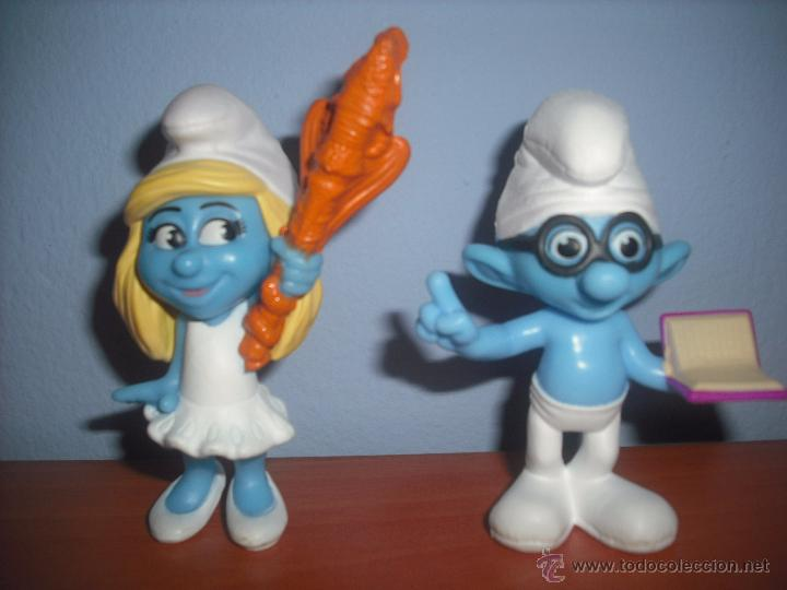 Figuras de Goma y PVC: Pitufina y Pitufo Sabio en PVC - SMURF - MCDONALDS - EN PERFECTO ESTADO - SMURFS - Foto 3 - 48692499