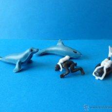 Figuras de Goma y PVC: DOS BUZOS Y ANIMALES MARINOS DE PLASTICO AÑOS 70 - FOCA, ORCA, HOMBRES RANA. Lote 48965666