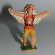Figuras de Goma y PVC: ANTIGUO JEFE INDIO REAMSA, RARO, REALIZADO EN PLASTICO, MIDE 6 CMS.. Lote 48973241