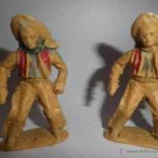 Figuras de Goma y PVC: 2 FIGURAS DE PLASTICO ANTIGUAS DEL ANTIGUO OESTE, AÑOS 60 ,MARCA LAFREDO. Lote 49057371