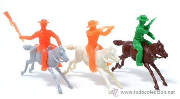 LOTE DE 3 COWBOYS A CABALLO DE GOMARSA, ANTIGUA REAMSA, CIRCA 1980 (Juguetes - Figuras de Goma y Pvc - Reamsa y Gomarsa)