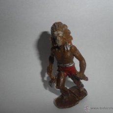 Figuras de Goma y PVC: FIGURA DE PLASTICO DE UN INDIO CON PLUMAS MUY ANTIGUO , AÑOS 60 ,LAFREDO. Lote 49062168