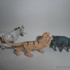 Figuras de Goma y PVC: FIGURAS DE ANIMALES , TIGRE ,ELEFANTE Y CEBRA DE JECSAN, COMANSI AÑOS 60-70. Lote 49277325