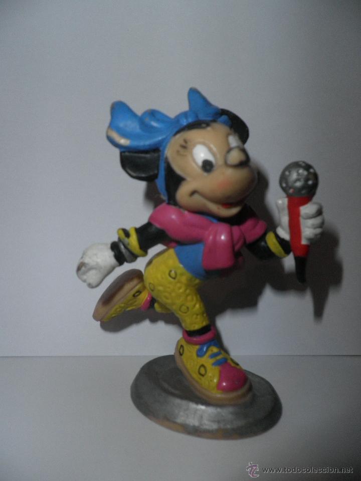 MINNIE MOUSE , CANTANTE CON MICROFONO , BULLY ,DISNEY 1988 (Juguetes - Figuras de Goma y Pvc - Bully)