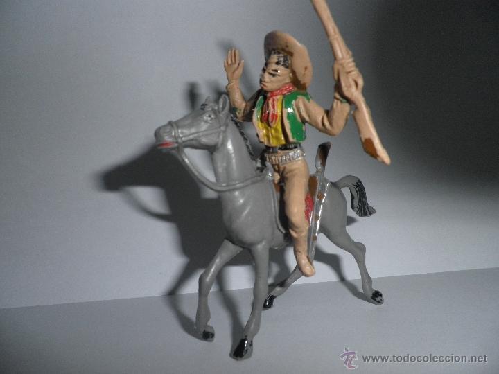 Figuras de Goma y PVC: ANTIGUO VAQUERO A CABALLO,HERIDO DE FLECHA, AÑOS 60, COMANSI. - Foto 3 - 49482277