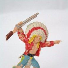 Figuras de Goma y PVC: FIGURA DE INDIO CON RIFLE - REAMSA, INDIOS Y VAQUEROS - AÑOS 50-60 - PLÁSTICO / PVC. Lote 49635108