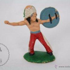 Figuras de Goma y PVC: FIGURA DE INDIO CON ESCUDO - REAMSA, INDIOS Y VAQUEROS - AÑOS 50-60 - PLÁSTICO / PVC. Lote 49635144
