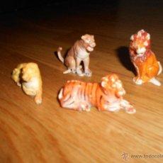 Figuras de Goma y PVC: LOTE JECSAN, LEONES Y TIGRES FIERAS SENTADAS Y TUMBADAS DEL CIRCO DE JECSAN GOMA MUY BUEN ESTADO. Lote 49720568