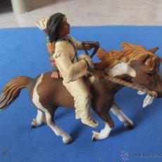Figuras de Goma y PVC: CHIQUILLO SIOUX A CABALLO MARCA SCHLEICH AÑO 2005 DESCATALOGADO. Lote 49752832