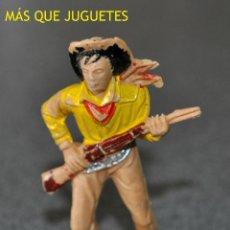 Figuras de Goma y PVC: FIGURA DE UN VAQUERO CON RIFLE EN GUARDIA DE JECSAN. AÑOS 60. Lote 49773369