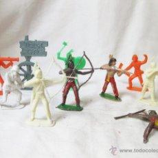 Figuras de Goma y PVC: LOTE DE 10 FIGURAS COMANSI - INDIOS Y SOLDADOS. Lote 50323003