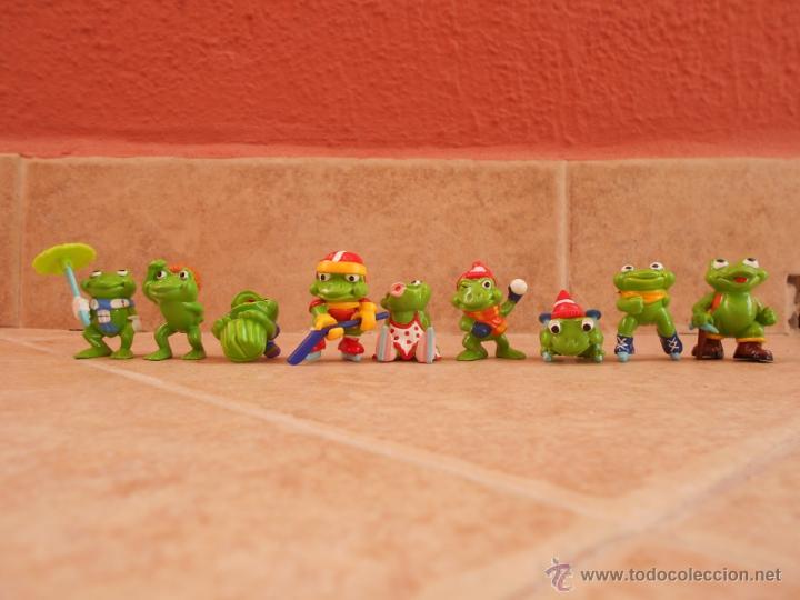 Figuras Kinder: Lote 9 figuras Ranas- Huevos Kinder años 90 - Foto 2 - 50416726