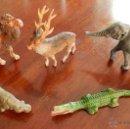 Figuras de Goma y PVC: LOTE DE PECH 5 FIGURAS DE ANIMALES, ELEFANTE, DROMEDARIO, COCODRILO, CIERVO Y OTRO, BUEN ESTADO DE C. Lote 50825284