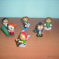 Figuras Kinder: SERIE FUNNY STUDENTS - SALIAN EN HUEVOS KINDER - LOTE DE 6 MUÑECOS. Lote 50950869