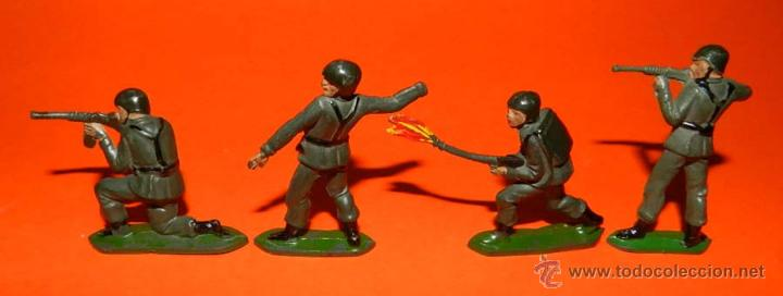 Figuras de Goma y PVC: 4 SOLDADOS TEIXIDO DE GOMA, TAL COMO SE VE EN LAS FOTOGRAFIAS PUESTAS. - Foto 2 - 53642524