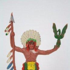 Figuras de Goma y PVC: FIGURA DE PLÁSTICO - LAFREDO. JEFE INDIO - MEDIDAS ALTO 8 CM. Lote 51316056