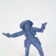 Figuras de Goma y PVC: FIGURA DE PLÁSTICO - PIPERO. VAQUERO CON PISTOLAS - COLOR AZUL - MEDIDAS ALTO 6,5 CM. Lote 51316508