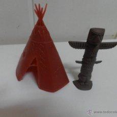 Figuras de Goma y PVC: TIENDA Y TOTEM INDIO DEL JUEGO DEL ANTIGUO OESTE (PLASTICO). Lote 52399045
