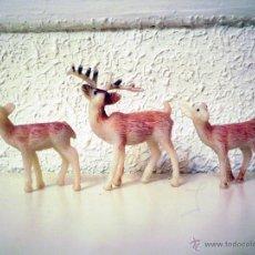 Figuras de Goma y PVC: 3 ANIMALES DE PLÁSTICO CIERVO CERVATILLO CERVATILLOS (AÑOS 80). Lote 52550895
