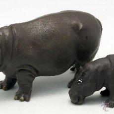 Figuras de Goma y PVC: HIPOPÓTAMO CON CRÍA BRITAINS ENGLAND GOMA 1978 . Lote 52883665