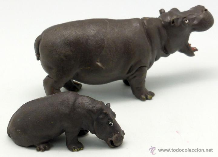 Figuras de Goma y PVC: Hipopótamo con cría Britains England goma 1978 - Foto 2 - 52883665
