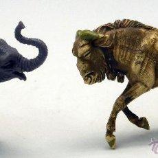 Figuras de Goma y PVC: ELEFANTE Y ÑU ANTÍLOPE GOMA BRITAINS ENGLAND AÑOS 70 ELEFANTE CABEZA DESMONTABLE. Lote 52959536