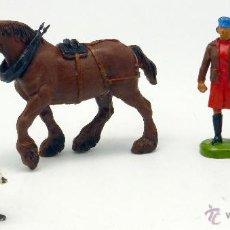 Figuras de Goma y PVC: 5 GRANJA CABALLO DOS CAMPESINOS Y DOS PERROS GOMA BRITAINS ENGLAND 1986 . Lote 52959992
