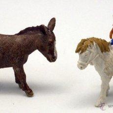 Figuras de Goma y PVC: NIÑO CON PONY Y BURRO GRANJA GOMA BRITAINS ENGLAND 1970 . Lote 52960214