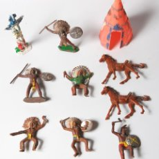 Figuras de Goma y PVC: LOTE DE CABALLOS, INDIOS Y VAQUEROS COMANSI. Lote 53098806