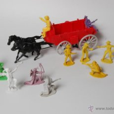 Figuras de Goma y PVC: LOTE DE CABALLOS, CARRETA, INDIOS Y VAQUEROS COMANSI. Lote 53098824