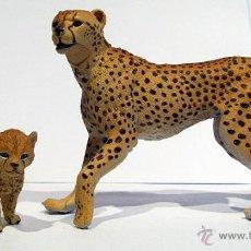 Figuras de Goma y PVC: FIGURA DE GUEPARDO CON SU CRÍA. Lote 53323553