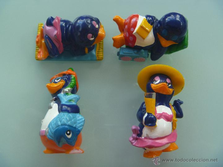 LOTE DE 4 FIGURAS DE KINDER : FIGURAS DE COLECCION DE PINGÜINOS (Juguetes - Figuras de Gomas y Pvc - Kinder)