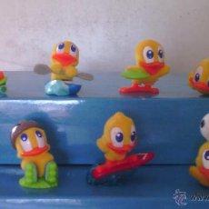 Figuras Kinder: LOTE 8 FIGURITAS HUEVOS KINDER SORPRESA POLLITOS PRACTICANDO DEPORTE. Lote 53723814