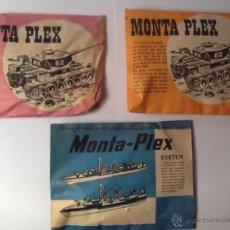 Figuras de Goma y PVC: MONTAPLEX SOBRES DE TANQUES Y BARCO DE GUERRA. Lote 54003495