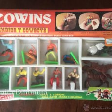 Figuras de Goma y PVC: ANTIGUA CAJA COMPLETA SIN ABRIR DE INDIOS Y COWBOYS - TECSAN - COWINS - FIGURAS MOVIBLES - EN PERFEC. Lote 54607282