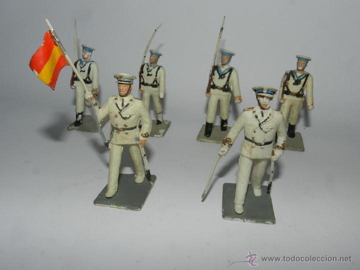 Figuras de Goma y PVC: 6 figuras de Marina de Guerra. Plastico Pintado Gomarsa, Reamsa ,Soldis 1960-70s, tal y como se ve e - Foto 2 - 54630855