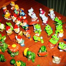 Figuras Kinder: 53 PERSONAJES KINDER SORPRESA: ENANITOS, TORTUGAS, RANAS, CONEJOS, HIPOPÓTAMOS, COCODRILOS, ETC.. Lote 55085123