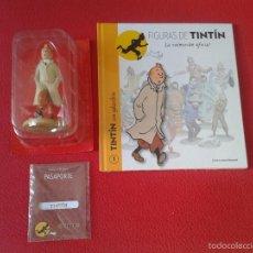 Figuras de Goma y PVC: LOTE FIGURA MUÑECO DE TINTIN EN GABARDINA EN BLISTER, LIBRO FASCICULO Nº 1 Y PASAPORTE PRECINTADOS. Lote 137614805