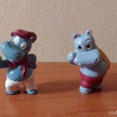 Figuras Kinder: 2 FIGURA KINDER HIPOPOTAMO - HAPPY HIPPOPOTAMUS - KINDER SORPRESA. Lote 55947545