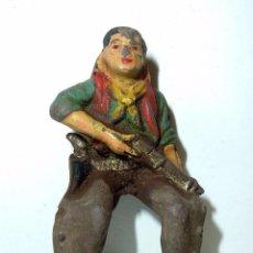 Figuras de Goma y PVC: ANTIGUA FIGURA REAMSA OESTE VAQUERO COW BOY CON ESCOPETA RIFLE JINETE , EN GOMA 5 CM AÑOS 50. Lote 56029986